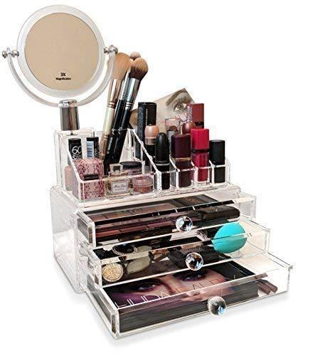Oi LabelsTM Transparent Miroir Acrylique Maquillage / Cosmétique Bijoux/Nail Polish Organisateur Support (Haute Qualité avec 3mm Acrylique ) . Cadeau En