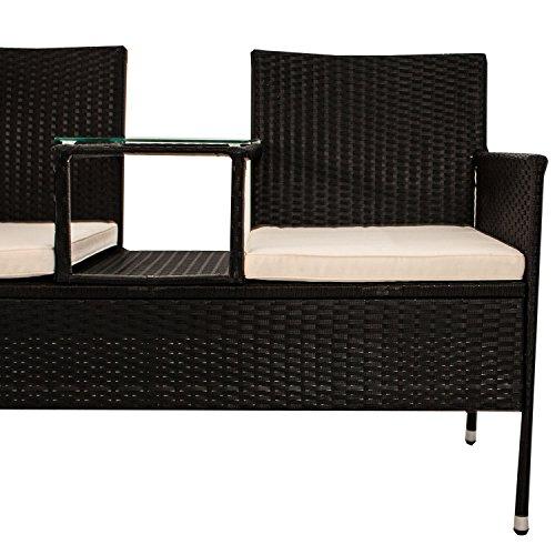 Polyrattan Gartenbank Monaco mit integriertem Tisch für 2 Personen - 4