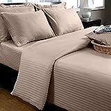 Homescapes 2 teilige Damast Bettwäsche 155x200 cm taupe beige 100% ägyptische Baumwolle Fadendichte 330