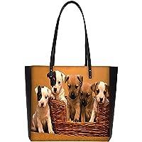 Snoogg Puppy In The Basket Large Shoulder Bag Tote Faux Leather Handbag Satchel Tote