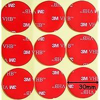 Almohadillas redondas de acrílico 3M VHB de doble cara color negro,diámetro de 30 mm x 1mm de grosor,cinta VHB resistente a la intemperie, Modelo:-5952, transparente, 10 Individual Pads