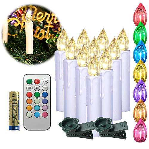 UISEBRT 40er LED Weihnachtskerzen mit Fernbedienung Kabellos RGB und Timer - LED Kerzen Flammenlose für Weihnachtsbaum, Weihnachtsdeko, Hochzeitsdeko, Party, Feiertag (40er mit Batterie)