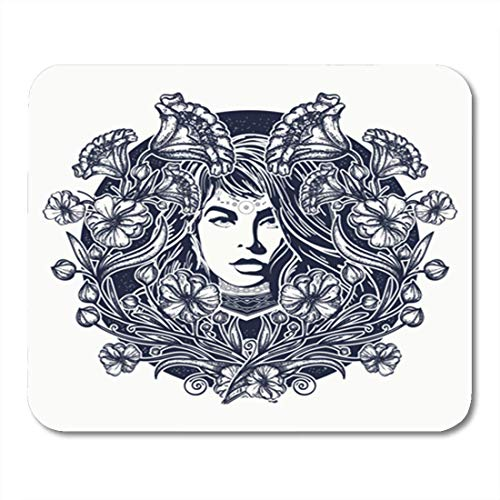 AOCCK Gaming Mauspads, Gaming Mouse Pad Ornament Woman and Flowers Tattoo Art Nouveau T-Shirt Design Attractive 11.8