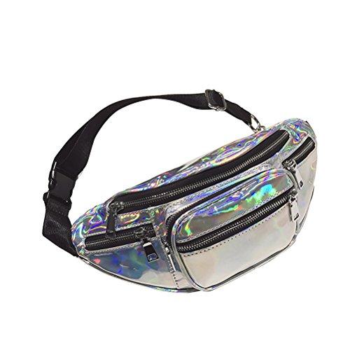 OULII Hologramm Laser Hüfttasche Reißverschluss um Pu Handytasche Cross-Body Satchel Mode Gürteltasche für Frauen Mädchen (Silber) (Satchel Klassische Mode)