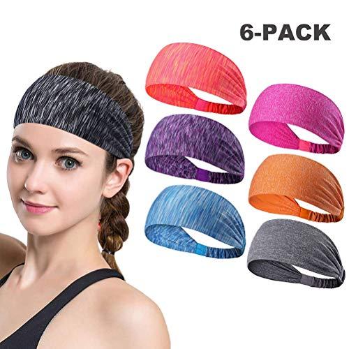 Honeststar 6 Stück Männer Frauen Sport Stirnband Anti Rutsch elastische Sport Stirnband Sport Wicking Stirnband kommt Frauen Schweißband absorbierende Feuchtigkeit für Yoga, Reiten, Basketball -