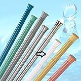 Tringle de rideau de douche télescopique extensible  140cm - 250cm  A ressorts (Blanc)