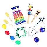 TOYMYTOY TOYMYTOY 15pcs Instrumentos musicales Instrumentos de percusión Juguete rítmica banda Set Herramientas educativas preescolares con bolsa de transporte