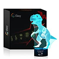3D Visual Lamp Optical Illusion Led Night Light, Elsley Amazing 7 Colors Dinosaur Shape Touch Sensitive Switch Lamps with Acrylic Flat, ABS Base, USB Charge for Home Decor