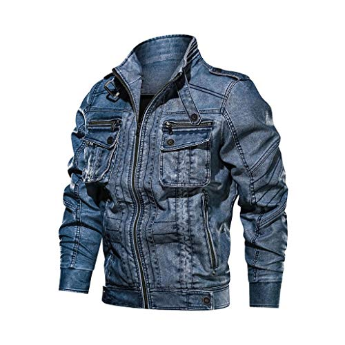 Fenverk Lederjacke Herren Winterjacke Kunstleder GefüTterter Vintage Jacke üBergangsjacke Biker Baumwolle Mit Gesteppten Bereichen(Blau,4XL)