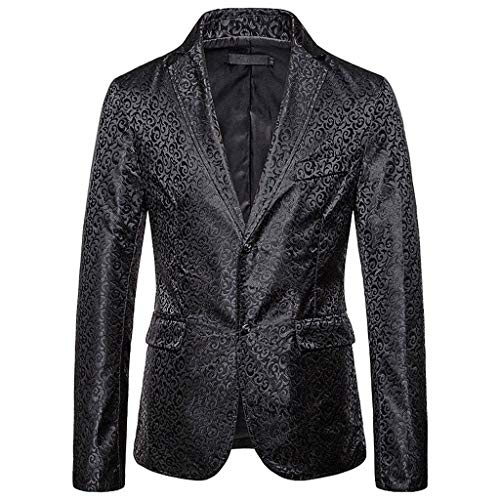 Obestseller Mode für Herren Herbst Winter Casual Gold Print Button Jacke Langarm Mantel Top Sakkos Men's Anzugjacken Tuxedo Handsome -
