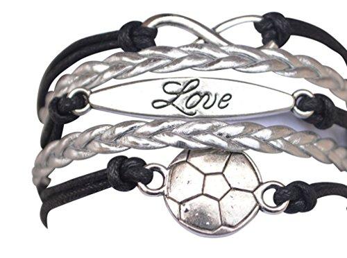 ball Armband, Fußball Schmuck, verstellbar Fußball Charm Armband Perfekt Fußball Geschenke für Mädchen ()