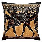 NI Antigua Grecia Warriorblack Figura Potteryancien Decoraciones diarias Sofá Funda de Almohada Fundas de cojín Funda de Almohada con Cremallera 4545