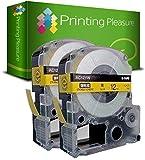 2x Schriftband kompatibel für Epson AC12YW Schwarz auf Gelb (12mm x 8m) für EpsonLabelWorks LW-300, LW-400, LW-500, LM-700, LW-900P, OK200, OK300, OK500P, OK720, OK900P, KingJim TepraPro SR230C, SR530C, SR3900C, SR150, SR180, SR-PBW1, SR-RK1, SR300TF, SR40, SR3700P, SR550, SR530, SR330, SR6700D, SR3900P, SR950, SR750 Etikettendrucker