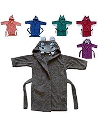 BOMIO Baby Bademantel mit Kapuze, Oekotex Standard 100, verschiedene Tier-Designs, verschiedene Größen