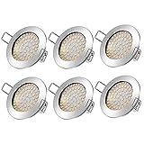 Tobbiheim LED Einbaustrahler, 6 * 5W Deckenleuchte Ultra Flach Inkl LED Modul 230V Deckenstrahler Einbauleuchte Runden Stahl IP20 LED Deckenspots Einbauspots Warmweiß 3000K