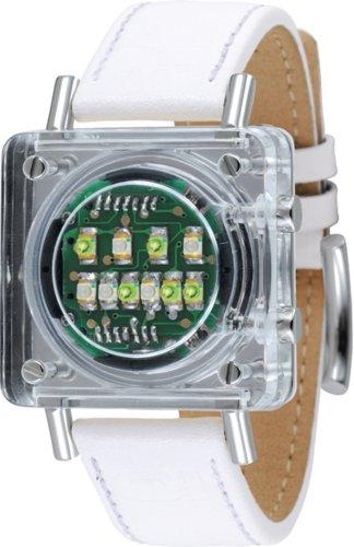 The One Razor Block RB907G1 - Reloj digital de cuarzo para mujer con correa de piel, color blanco