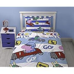 Peppa Pig George Speed - Juego de ropa de cama con funda nórdica, diseño impreso repetido