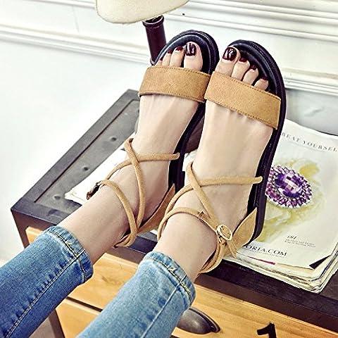 KAI-des sandales de plats sandales correspond à mode femme femme plate bande,le kaki,trente - neuf