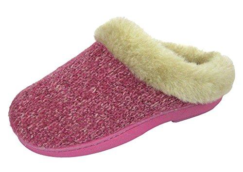 COOLERS Pantoufles PREMIER tricot confort fourrure Semelle extérieure Beige Mulets Rose 8 Rose - Pink Knitted Mules