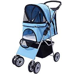 Cochecito Silla de viaje para Mascotas Plegable Pet transporte Malla Cremallera (azul)