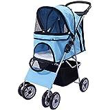 Hundewagen Hundebuggy Hunde Pet Stroller Buggy Roadster+Einkaufstasche 4 Räder in 5 Farben (blau)