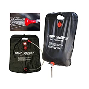 51eT14OeDyL. SS300  - Hillington Solar Powered Camping Shower Complete with Heavy Duty 20L PVC Bag, Long Flexible Hose and Adjustable Shower Head and Temperature Display Thermometer