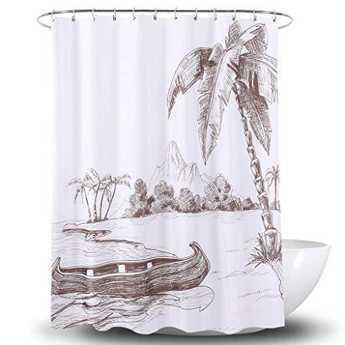 Duschvorhang Bad Vorhang Wasserdicht Warme Dusche 3D Gedruckt Polyester Bad Dusche Undurchlässige Trennvorhang (Größe: 200 cm * 180 cm)