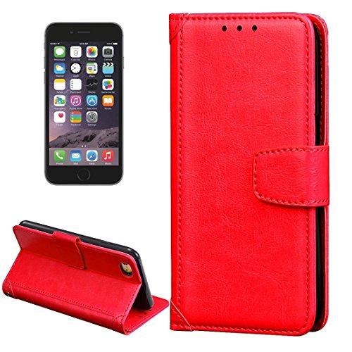 Für iPhone 4,7 Zoll Fall, Für iPhone 6 & 6s Crazy Horse Textur Horizontal Flip Ledertasche mit Halter & Kartensteckplätze & Brieftasche & Fotorahmen (4,7 Zoll) ( Color : Red )