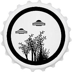 Azeeda 'Árboles y Ovnis' Imán del Refrigerador del Abrebotellas (BO00013201)