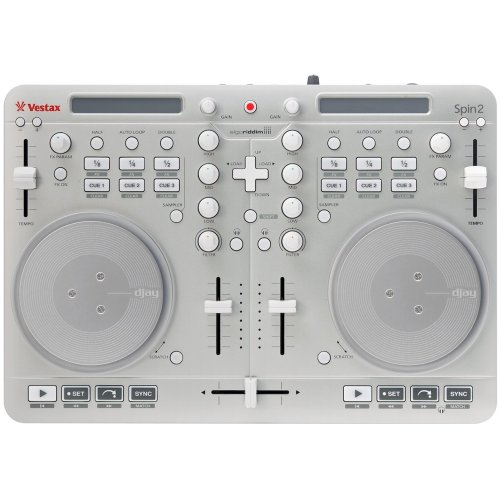 Vestax Spin2 - controladores dj (2.0, iPad 2, iPad 3, iPhone 4, iPhone 4S, iPod Touch 4, Apple 30-pin, Corriente alterna, Mac OS X 10.6 Snow Leopard, Mac OS X 10.7 Lion, Mac OS X 10.8 Mountain Lion, 1 GB) Plata