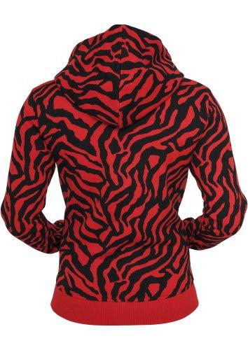 "Urban Classics Sweat à Capuche ""Ladies Zebra Ziphoody"" Red - Red / black"