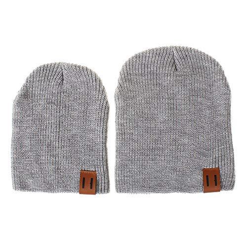 2 Stück Pom Mütze Deckel, Quaan Mama und ich Solide Farbe Häkeln Stricken Winter Warm Hut - Mädchen Shorts Pom Pom