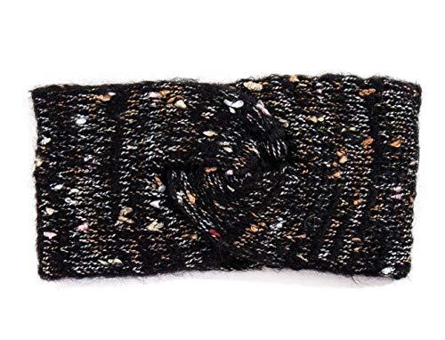 Treend24 Elegant Damen Strick Stirnband mit Knoten gesprenkelt Haarband Winter Herbst Stirnband Sport Fitness Jogging Outdoor Headband (schwarz)