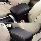 Soldmore7 Armlehnenschoner für Honda CRV Mittelkonsole Armlehnenschutz, staubdichtes Autokissen für Zentralkonsole, Armlehnenschutz, Armlehnenschutz, Black Leather+red Stitches, Free Size