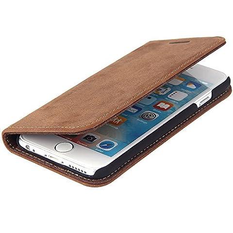 TWOWAYS Ledertasche iPhone 6s / 6 Apple - ECHTES LEDER HANDGEFERTIGT - edel flach und sicherer Rundumschutz mit Kartenfach, Magnet und praktischer Standfunktion - Premium Hülle in Wildleder Braun
