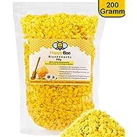 Happy Beene, cera d'api pura al 100% -200g-palline gialle di cera d'api.Prodotto perfetto per cosmetici e per la creazione di candele con tutta la famiglia
