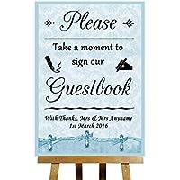 Collezione Blu Shabby Chic Vintage libro degli ospiti–Poster di stampa di Matrimonio, personalizzato, Blue, Large A3