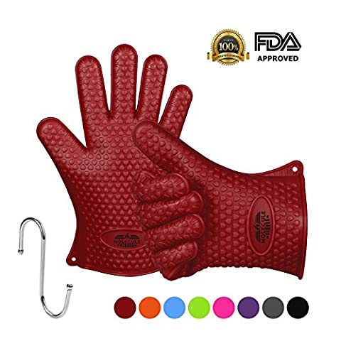 Molecule Insulated Silicone Cooking Gloves BBQ Grill Gloves Best Versatile