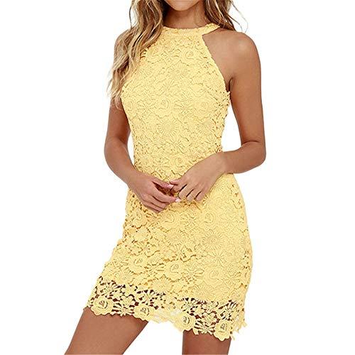 Vestito Sexy Donna Casual Solid Lace Elegante Halter Collar Sleeveless Party Dress Slim Soft Touch Abiti Summer B1 S