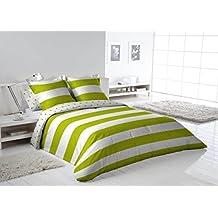 Más Relax Funda nórdica Rayas cama 135/150 2 fundas almohada verde 230x240