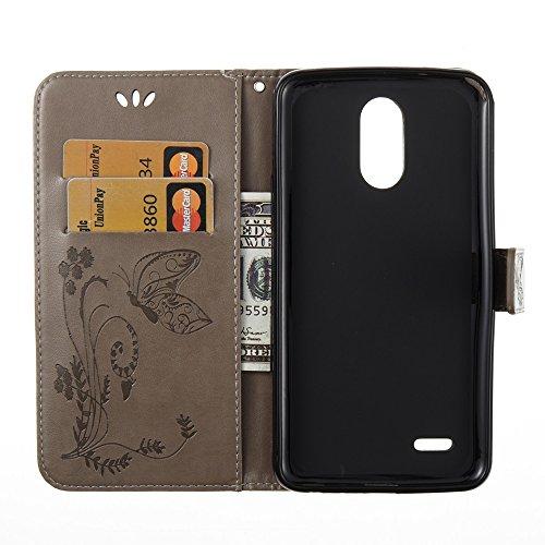 Solid Color Faux Leder Bookstyle Brieftasche Stand Case mit geprägten Blumen & Lanyard & Card Slots für LG LS777 ( Color : Red ) Gray