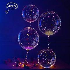 Idea Regalo - LEEHUR 18 Pollici LED BoBo Palloncino, trasparente Palloncini con LED Luce Stringa per Party, Compleanni, Matrimoni, Natale,Decorazioni di Festa e Cerimonia Celebrazione (4 pz)