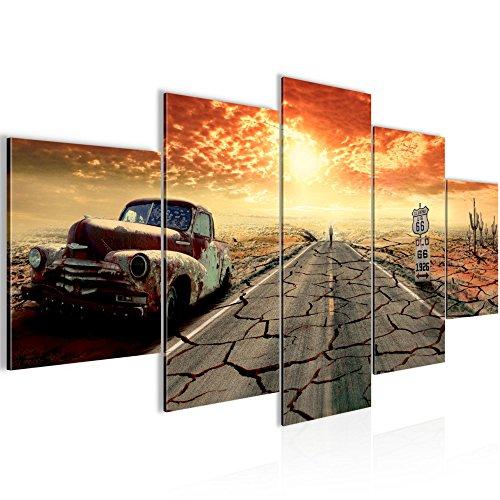 Photo Route 66 Décoration Murale 200 x 100 cm Toison - Toile Taille XXL Salon Appartement Décoration Photos d'art Orange 5 Parties - 100% MADE IN GERMANY - prêt à accrocher 600351a