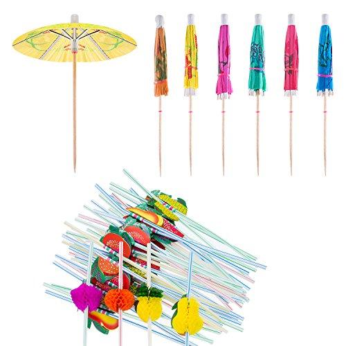 Blulu Cocktail Dekoration Party Set, 50 Stück Gemischte Farben Regenschirm Strohhalme und 50 Stück Mehrfarbige 3D Obst Trinkhalm, Insgesamt 100 Stück