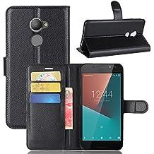 Nadakin Vodafone Smart N8 VFD610 Calidad Premium Cartera de Cuero con Carcasa de Teléfono Flip Funda con Soporte Magnetico de Cierre para Vodafone Smart N8 VFD610(Negro)