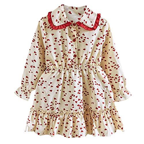 Kleinkind Deluxe Kostüm - INLLADDY Kleider Baby Kleinkind Mädchen Langarm Kleid Herbst Winter Drucken Süß Prinzessin Kleid Beige 4-5 Jahre