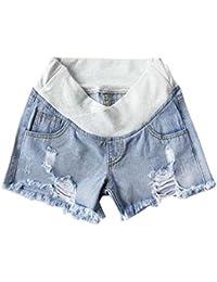 Keephen Pantalones Cortos de Mezclilla Casual Mamá Embarazada - Cuidado de Maternidad Pantalones Cortos de Jean Suelta Transpirable Comodidad Maternidad