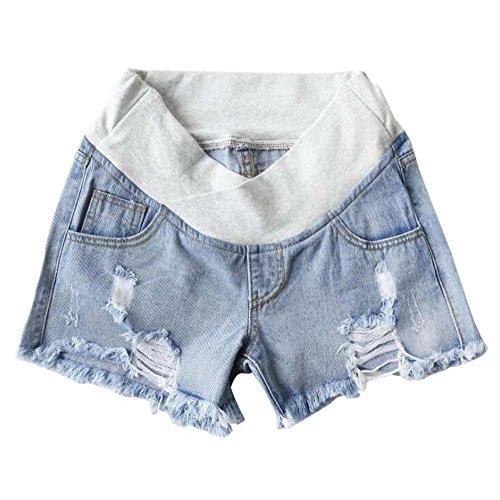 Shorts en Denim Occasionnels de Maman Enceinte - Short de maternité Respirant de Ventre de maternité de Confort de Ventre Keephen