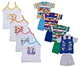 IndiWeaves Boys Pure Cotton Baba Suit (T-Shirt and Bottom) (Pack of 4)- (Assorted Color/Print) And Girls Pure Cotton Cartoon Print Slips/Vests (Pack o