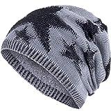 Compagno Sternen Wintermütze warm gefütterte Beanie Flechtmuster Einheitsgröße Mütze, Farbe:Hellgrau